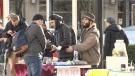 Despite police raiding the pot market in Robson Square on Sunday night, illegal vendors were back selling marijuana on Monday. (CTV)