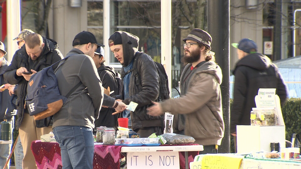 Despite police raiding the pot market in Robson Square on Sunday night, illegal vendors were back selling marijuana on Monday. (CTV)
