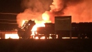 A large fire is seen at a Port Coquitlam rail yard in this social media image from Monday, Jan. 22, 2018. (@belleamanda / Twitter)