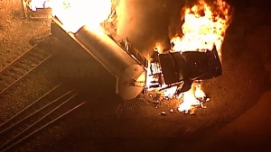 Aerial footage shows a semi-truck on fire at a rail yard in Port Coquitlam on Monday, Jan. 22, 2018.