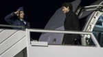 Prime Minister Justin Trudeau arrives Min Zurich to attend the Davos Economic Forum on Monday, Jan. 22, 2018 . (Paul Chiasson/THE CANADIAN PRESS)