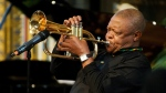 South African jazz musician Hugh Masekela performs during the Observance for Commonwealth Day service at Westminster Abbey in central London in March 2012. (Leon Neal/Pool Photo)