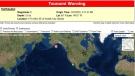A tsunami warning has been issued for coastal B.C. and parts of Alaska after a magnitude 8.2 earthquake. (U.S. Tsunami Warning System)
