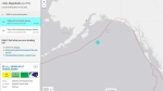 A map from the USGS shows where an earthquake struck near Alaska, prompting a tsunami warning for B.C.'s coast