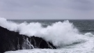 FILE PHOTO -- Waves crash against rugged rocks along the Wild Pacific Trail in Ucluelet, B.C. on Friday, Jan. 19, 2018. A tsunami warning has been posted for the coast of British Columbia and Alaska following a powerful earthquake in the Gulf of Alaska. THE CANADIAN PRESS/Melissa Renwick