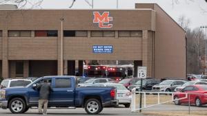 Emergency crews respond to Marshall County High School after a fatal school shooting Tuesday, Jan. 23, 2018, in Benton, Ky. (Ryan Hermens/The Paducah Sun via AP)