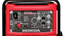 The recall is for Model EG2800i. The generator has a front red cover and black metal frame. HONDA is printed in white on the front of the generator. (Source: Health Canada)