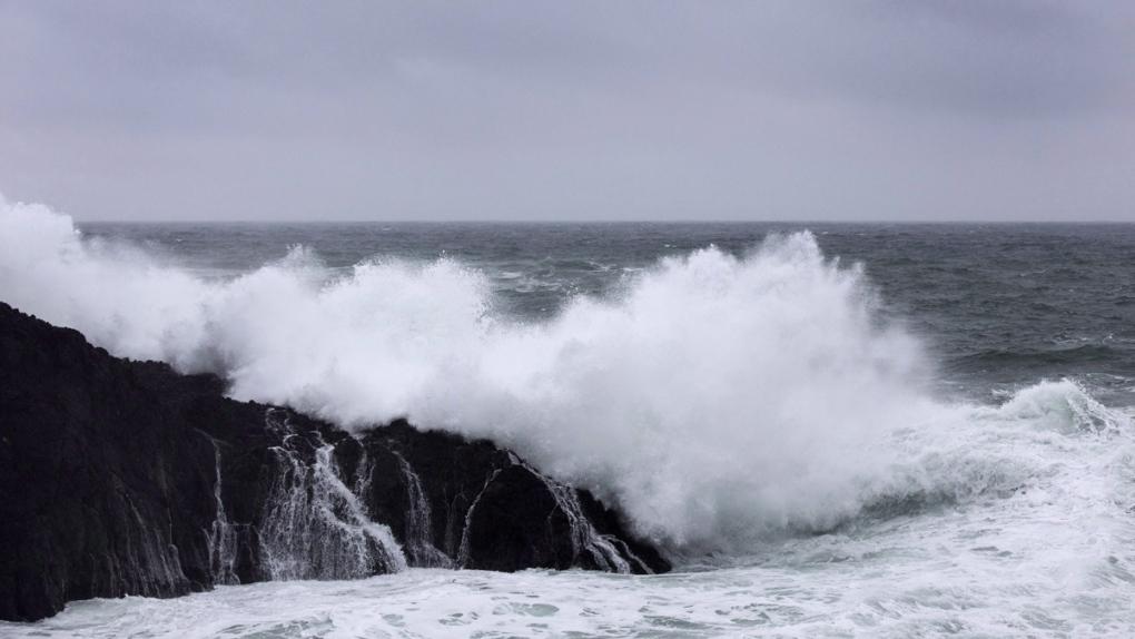 Waves crash ashore in Ucluelet, B.C.