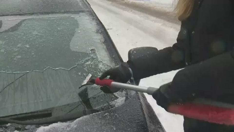 ice, scraping, car