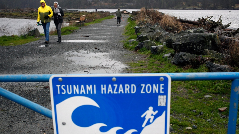 A couple walks along Whiffin Spit Park following a tsunami warning in Sooke, B.C., on Tuesday, Jan. 23, 2018. (Chad Hipolito / THE CANADIAN PRESS)
