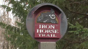 Iron Horse Trail sign on Victoria Street in Kitchener. (Jan. 23, 2017)