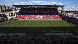 CFL football preseason action at BMO Field is shown in this file photo in Toronto, Saturday, June 11, 2016. (Mark Blinch/THE CANADIAN PRESS)