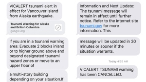 A Vic-Alert text was sent to users warning them of a potential tsunami early Tuesday. The warning was later cancelled. Jan. 23, 2018.