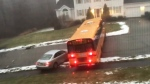 Extended: Bus slides out of control