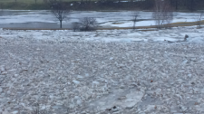 High water and ice threatens to flood the Doon Valley Golf Course in Kitchener. (Jan. 23, 2017)