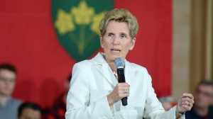 Ontario Premier Kathleen Wynne speaks during a town hall meeting in Ottawa on Thursday, Jan. 18, 2018. (Justin Tang/THE CANADIAN PRESS)