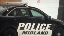 A Midland police cruiser can be seen in Midland, Ont. on Tuesday, Jan. 23, 2018. (Mike Arsalides/ CTV Barrie)