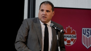 Canadian Soccer Association president Victor Montagliani speaks at a press conference to announce the unified bid, of the three nations, United States, Mexico and Canada to jointly host the 2026 FIFA World Cup competition. EPA/PETER FOLEY