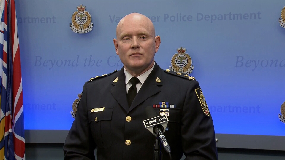 Vancouver Police Chief Adam Palmer speaks to reporters on Monday, Jan. 22, 2018.