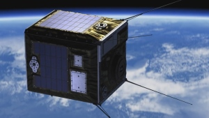 ALE's shooting star-generating satellite is shown in this image from a video simulation.