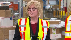 Public Services Minister Carla Qualtrough speaks about a new plan for Canada Post at a sorting plant in Mississauga, Ont. on Jan. 24, 2018.