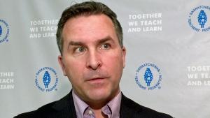 Saskatchewan Teachers' Federation president Patrick Maze speaks to media in Saskatoon on Wednesday, Jan. 24, 2018. (Laura Woodward/CTV Saskatoon)