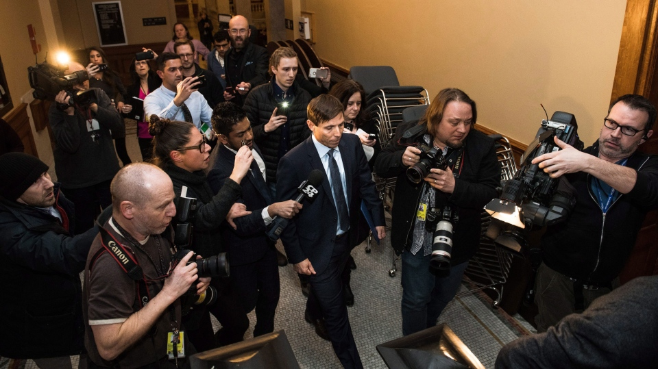 Ontario Progressive Conservative Leader Patrick Brown leaves Queen's Park after a press conference in Toronto on Wednesday, Jan. 24, 2018. (THE CANADIAN PRESS/Aaron Vincent Elkaim)