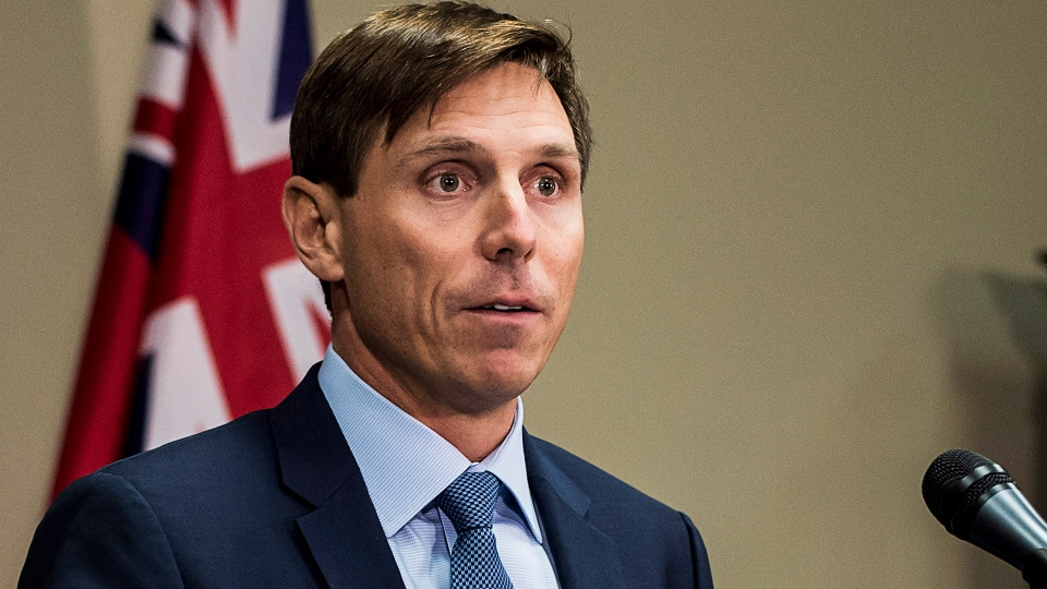 Ontario Progressive Conservative Leader Patrick Brown speaks at a press conference at Queen's Park in Toronto on Wednesday, Jan. 24, 2018. (Aaron Vincent Elkaim / THE CANADIAN PRESS)