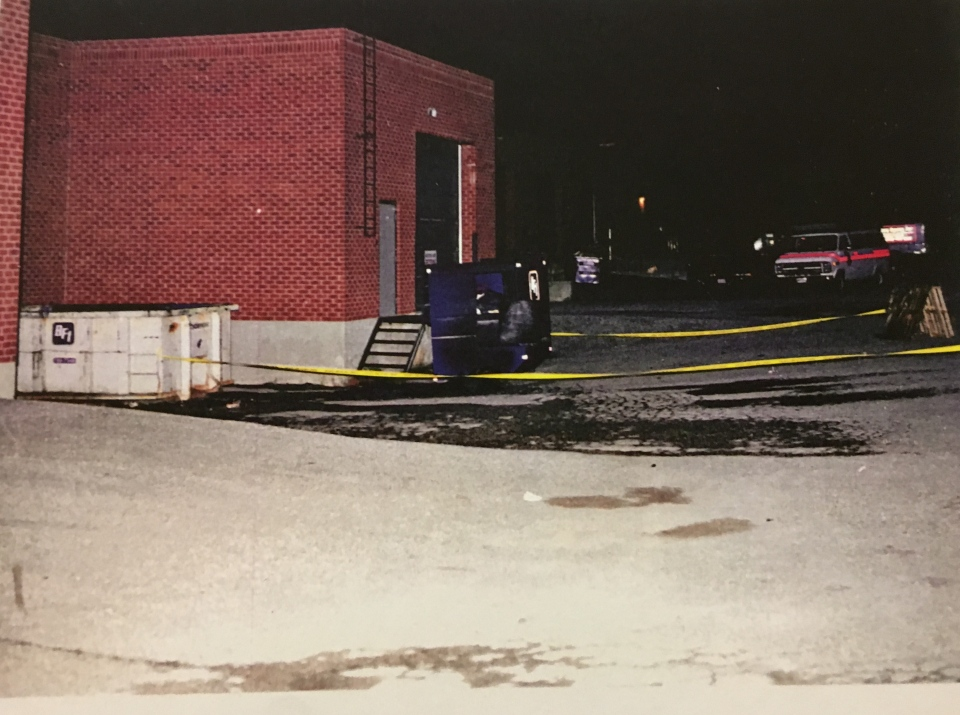 Photo from the 1994 crime scene where Melonie's body was found in a burning suitcase