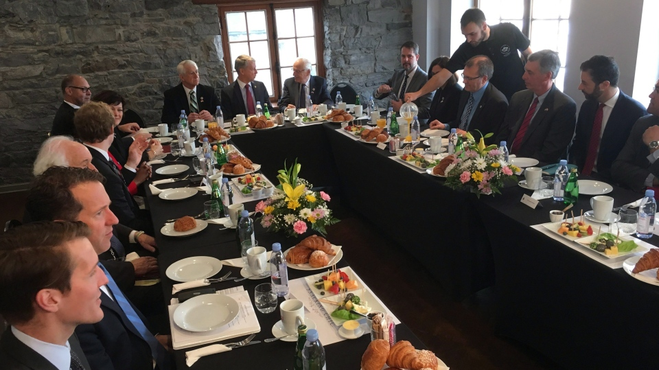 A group of Canadian and American politicians gather for a breakfast conversation about NAFTA during the current round of talks in Montreal, on Saturday, Jan. 27, 2018. (THE CANADIAN PRESS/Alex Panetta)
