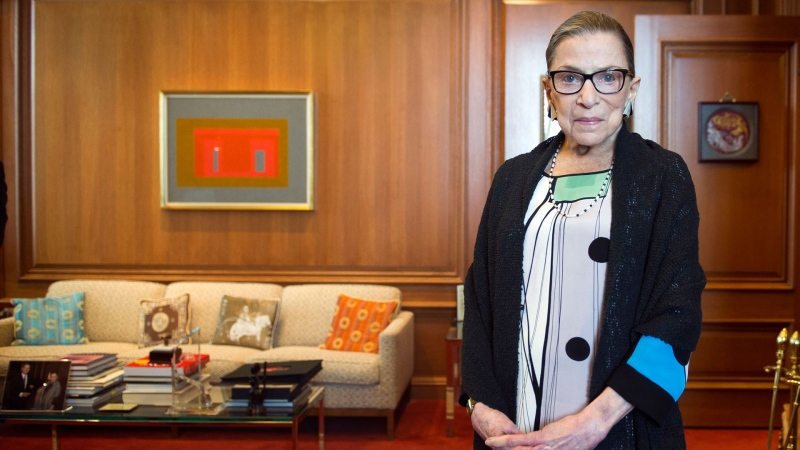 In this July 31, 2014, file photo, Associate Justice Ruth Bader Ginsburg in her Supreme Court chambers in Washington. (AP Photo/Cliff Owen, File)