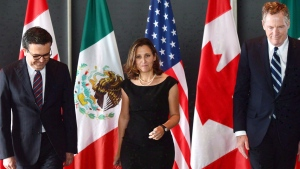 Minister of Foreign Affairs Chrystia Freeland meets for a trilateral meeting with Mexico's Secretary of Economy Ildefonso Guajardo Villarreal, left, and Ambassador Robert E. Lighthizer, United States Trade Representative, during the final day of the third round of NAFTA negotiations at Global Affairs Canada in Ottawa on Wednesday, Sept. 27, 2017. THE CANADIAN PRESS/Sean Kilpatrick