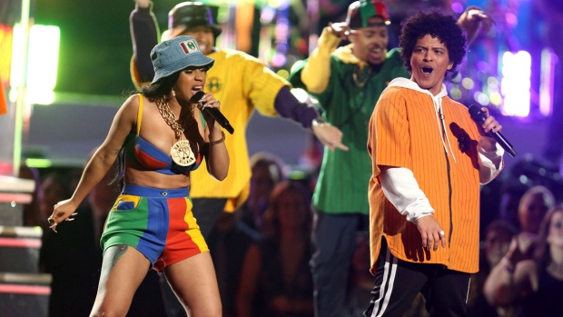 Bruno Mars and Cardi B perform 'Finesse' at the 60th annual Grammy Awards at Madison Square Garden on Sunday, Jan. 28, 2018, in New York. (Photo by Matt Sayles/Invision/AP)