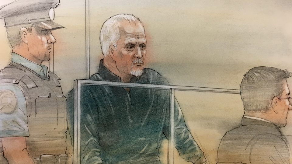 Murder suspect Bruce McArthur is seen in this court sketch, Monday, Jan. 29, 2018.