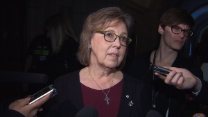 Green Party Leader Elizabeth May spoke to reporters after asking for an investigation into allegations that she bullied former employees.