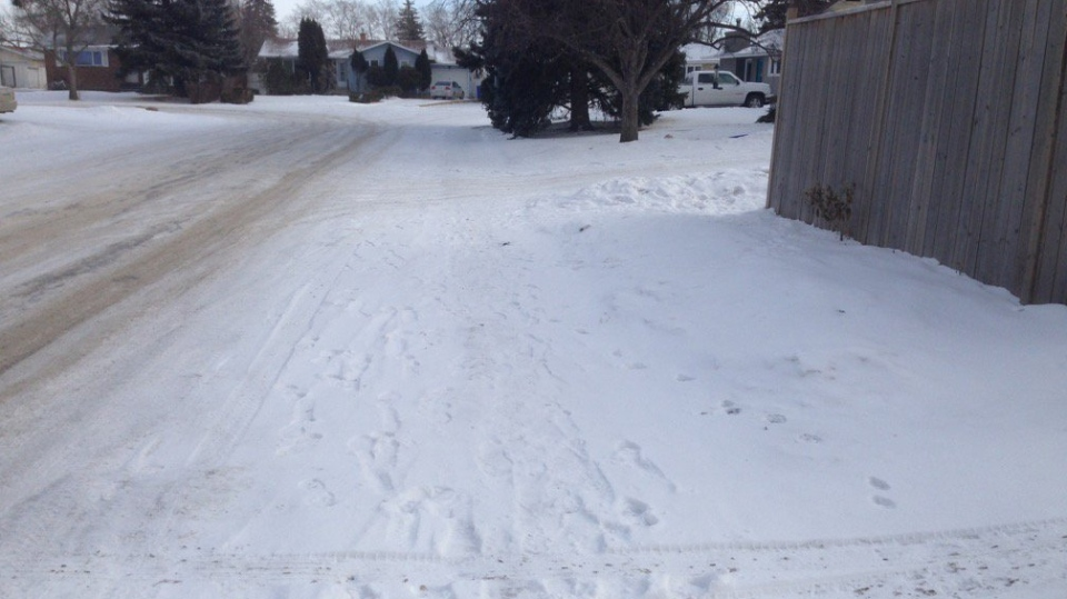 A snow-covered Regina sidewalk is shown on Jan. 29, 2018 (Dale Hunter / CTV Regina)