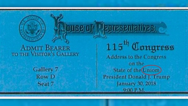 State of the Union ticket typo