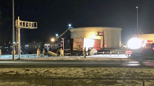 Collision between a train and a semi on Ring Road in Regina. (ALEX BROWN/CTV REGINA)
