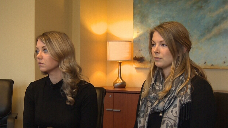 Mallory Colter and Jennifer Burke are part of a proposed class-action lawsuit against Red Barn Market and Matthew Schwabe over allegations they were secretly filmed in a store bathroom. Jan. 30, 2018. (CTV Vancouver Island)