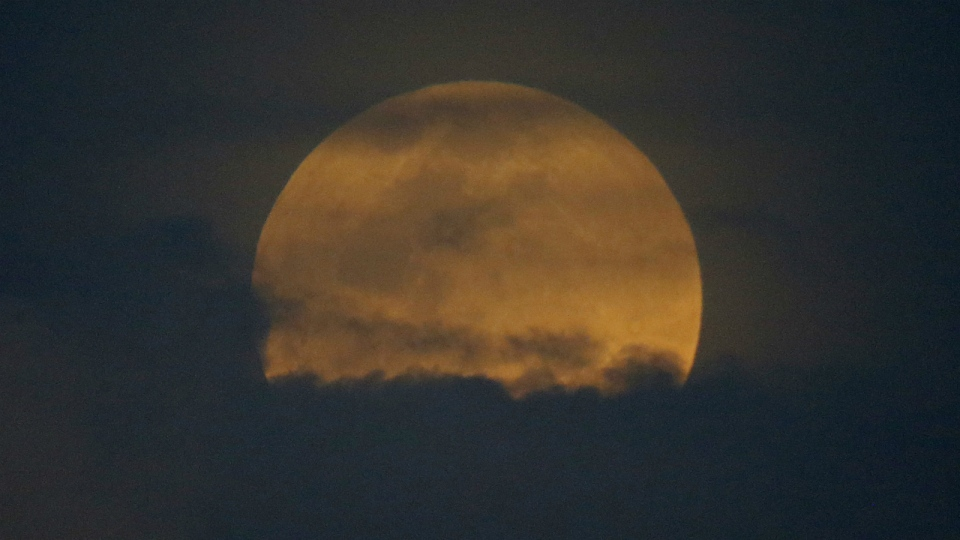 The moon rises in a phenomena that combined a supermoon, a Blue Moon and a total lunar eclipse as seen in Legazpi city, Albay province, Philippines on Wednesday, Jan. 31, 2018. (AP Photo/Bullit Marquez)