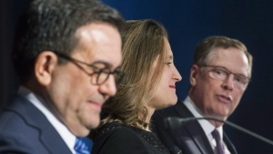 Foreign Affairs Minister Chrystia Freeland and Mexico's Secretary of Economy Ildefonso Guajardo Villarrea look on as United States Trade Representative Robert Lighthizer speaks in Montreal, on Jan. 29, 2018. (Graham Hughes / THE CANADIAN PRESS)