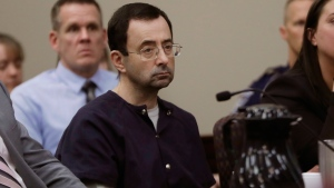 Larry Nassar sits during his sentencing hearing in Lansing, Mich., Wednesday, Jan. 24, 2018. (AP / Carlos Osorio)