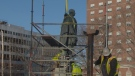 Scaffolding is set up around a statue of Edward Cornwallis in Halifax as workers prepare to move it on Jan. 31, 2018.