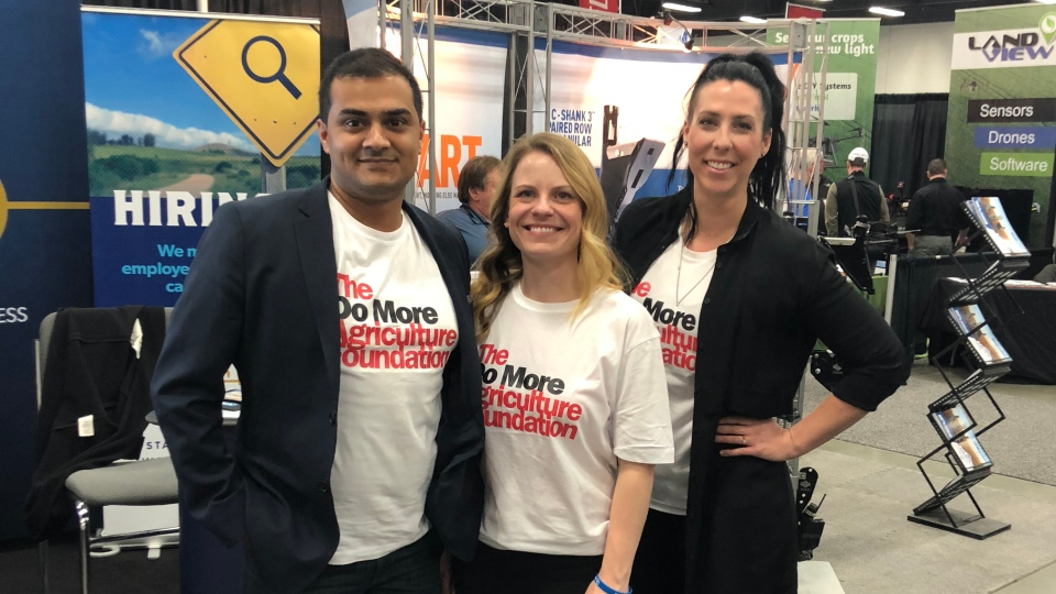 Himanshu Singh, Lesley Kelly and Kim Keller at the Do More Ag foundation launch in Edmonton on Jan. 30, 2018 (Supplied: Lesley Kelly)