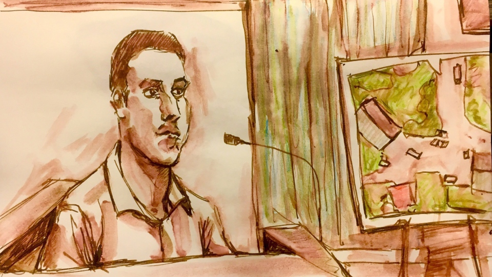 Sheldon Stanley testifies in this courtroom sketch in Battleford, Sask., on Wednesday, Jan. 31, 2018. THE CANADIAN PRESS/Cloudesley Rook-Hobbs