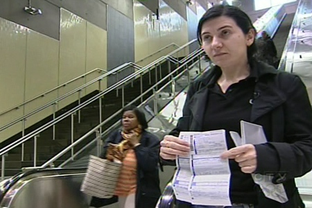 Bela Kosoian was fined $100 for not holding onto the handrail while riding an escaltor at the Montmorency metro station on Wednesday. Laval police gave issued her an additional $320 ticket for obstrution.