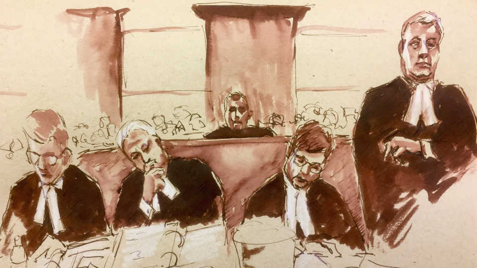 Gerald Stanley, centre, looks on as Crown Prosecutor Bill Burge, right, speaks in this courtroom sketch in  Battleford, Sask., on Wednesday, Jan. 31, 2018. THE CANADIAN PRESS/Cloudesley Rook-Hobbs