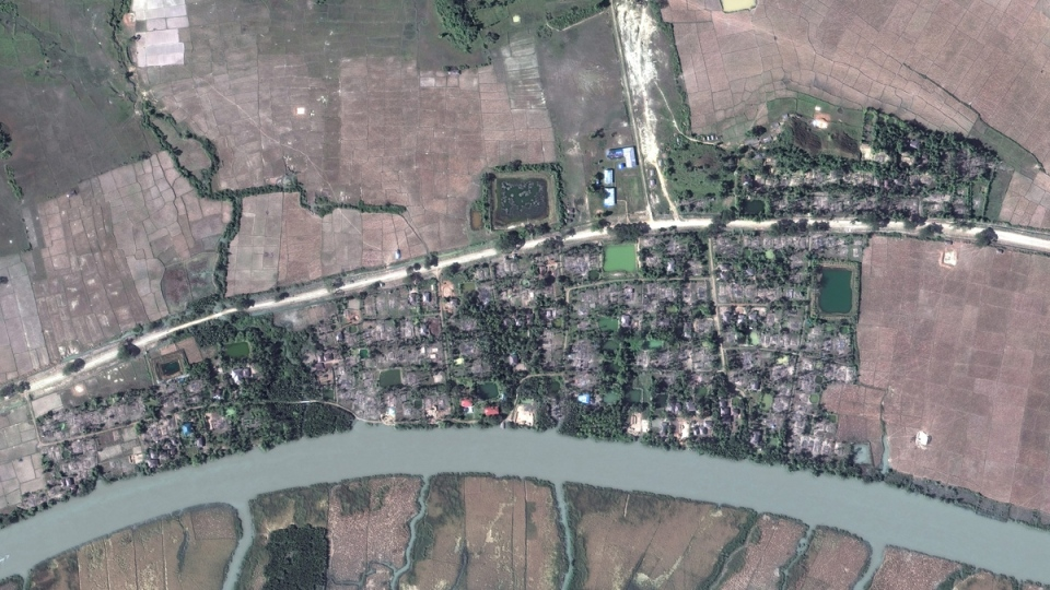 Satellite image aerial overview of the village of Gu Dar Pyin, Myanmar, on Dec. 20, 2017. (DigitalGlobe via AP)
