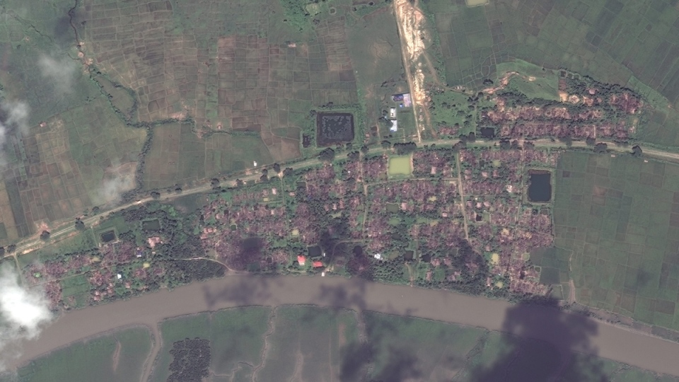 Satellite image aerial overview of the village of Gu Dar Pyin, Myanmar, on Sept. 25, 2017. (DigitalGlobe via AP)