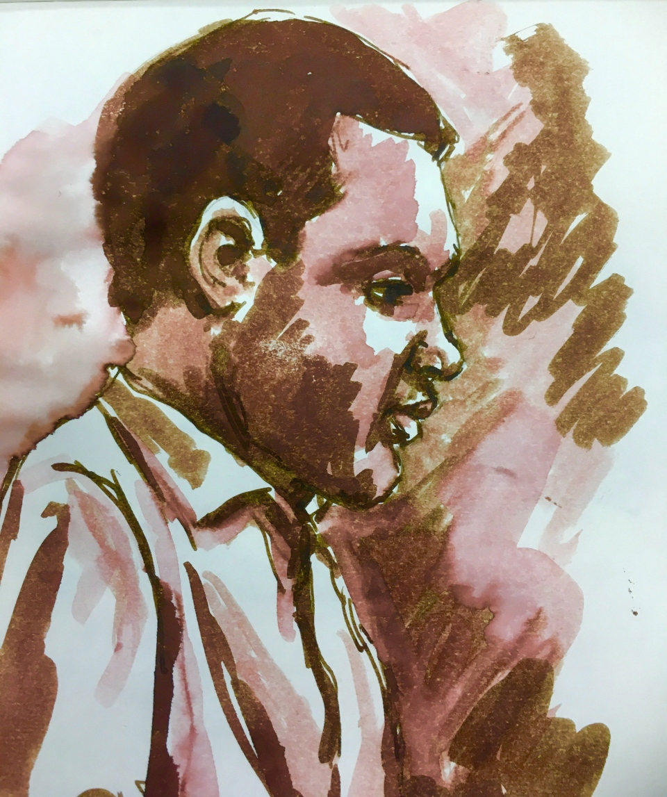 Eric Meechance testifies in court in this courtroom sketch in Battleford, Sask., on Wednesday, Jan. 31, 2018. THE CANADIAN PRESS/Cloudesley Rook-Hobbs